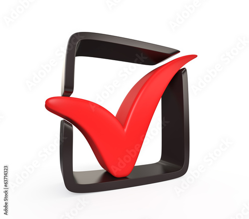 Red check mark with black frame
