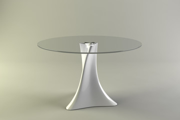 Modern glass table round on a gray background