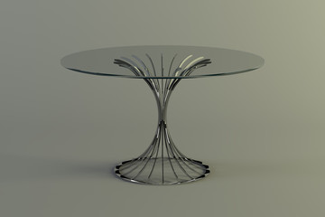 Modern glass metal  table round on a gray background