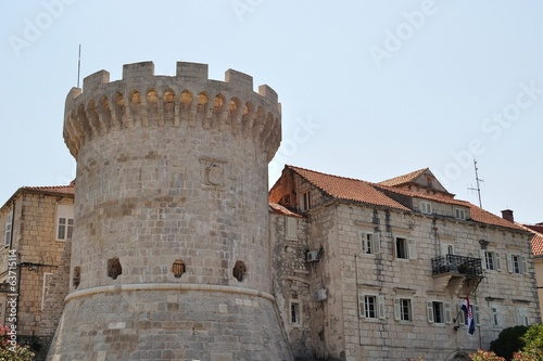 One of the towers in the ancient town wall of Korcula in Croatia