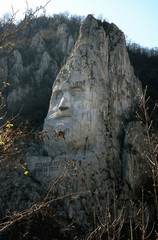 Decebal's head carved in rock in Romania