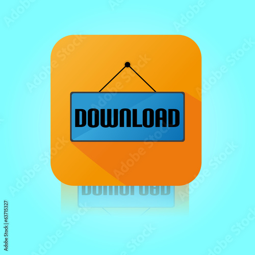Flat Color Download Label Icon