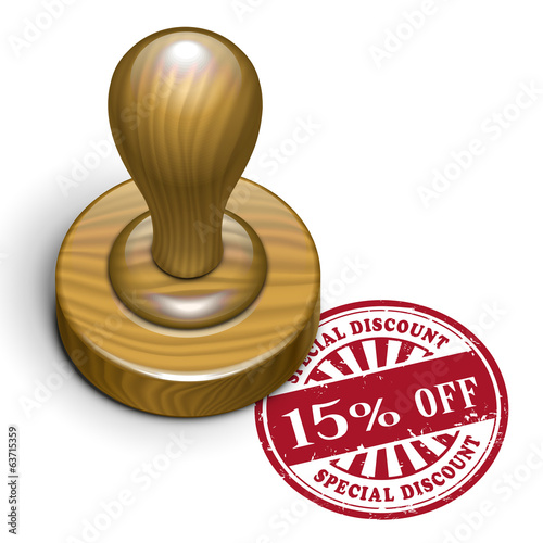 15 percent off grunge rubber stamp