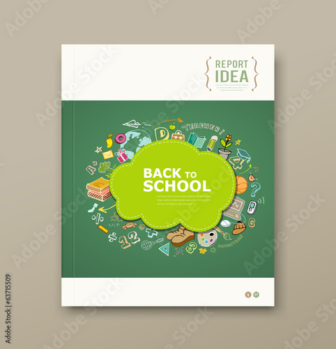Cover Magazine educations with icons design background