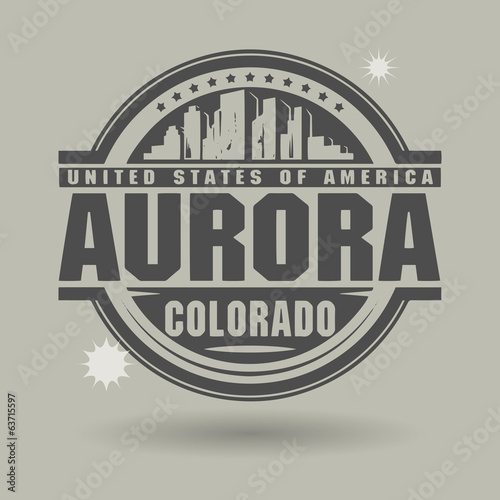 Stamp or label with text Aurora, Colorado inside