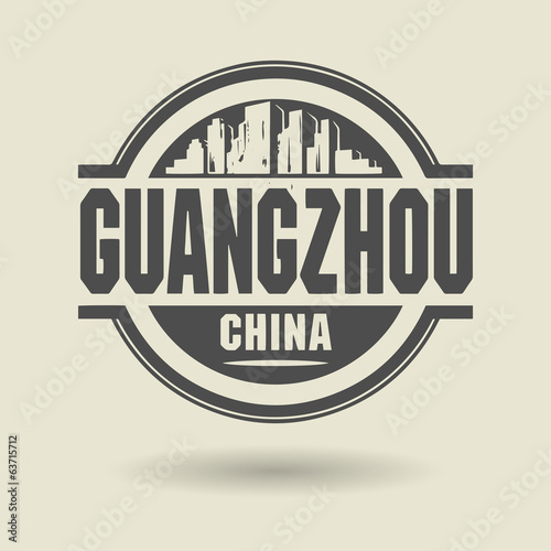 Stamp or label with text Guangzhou, China inside, vector
