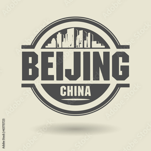 Stamp or label with text Beijing, China inside, vector