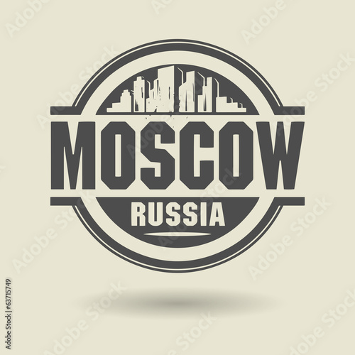Stamp or label with text Moscow, Russia inside, vector