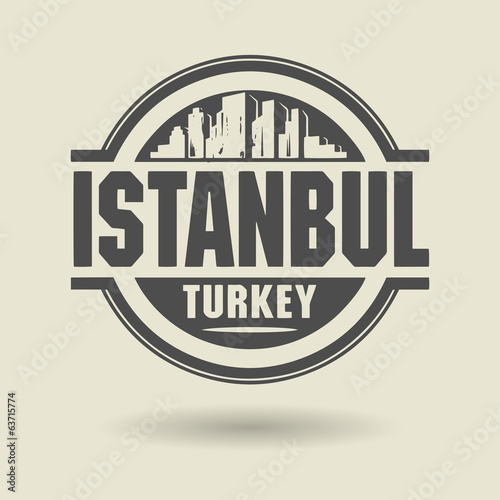 Stamp or label with text Istanbul, Turkey inside, vector