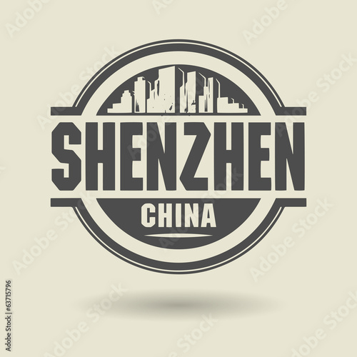 Stamp or label with text Shenzhen, China inside, vector