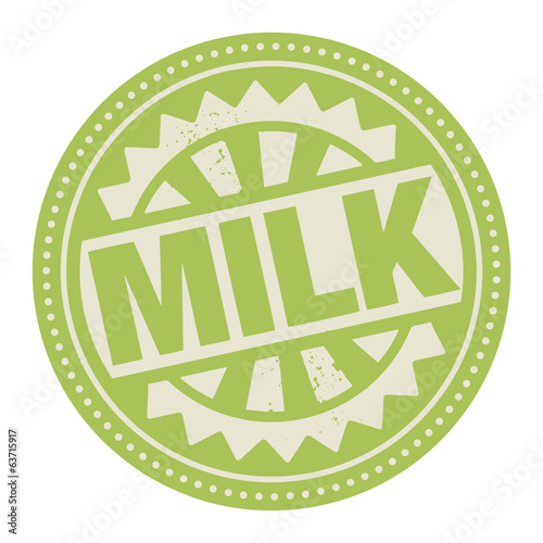 Abstract stamp or label with the text Milk written inside