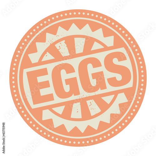 Abstract stamp or label with the text Eggs written inside