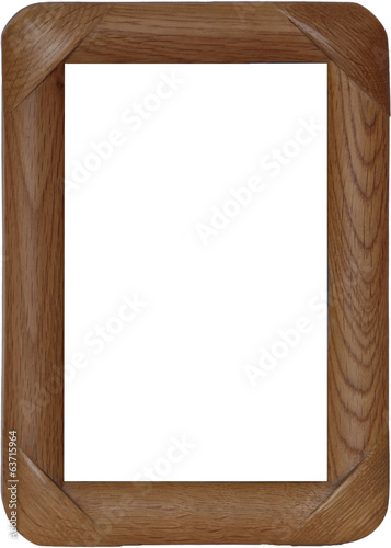 The wooden frame with the rounded edges