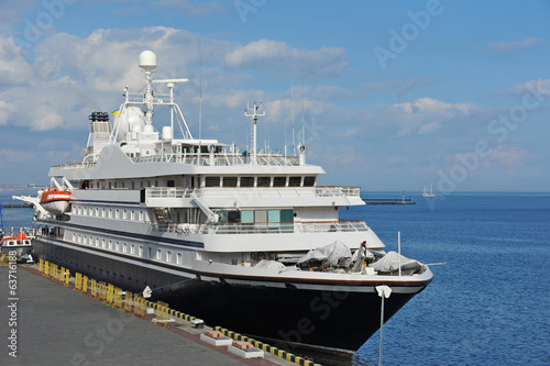 Cruise tourist ship in Black sea, Odessa, Ukraine