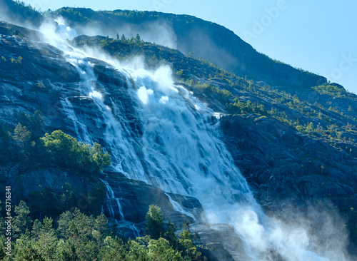 Summer Langfossen waterfall  (Norway).