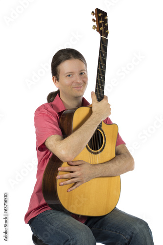 Guitarist holding his huitar