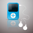 Blue Vector Mp3 Player Illustration with White Headphones