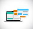 laptop and online sites. illustration design