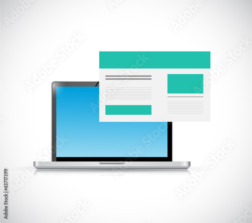 laptop and a website illustration design