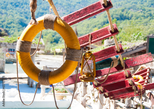 Lifebuoy  and rope ladder, marine decor