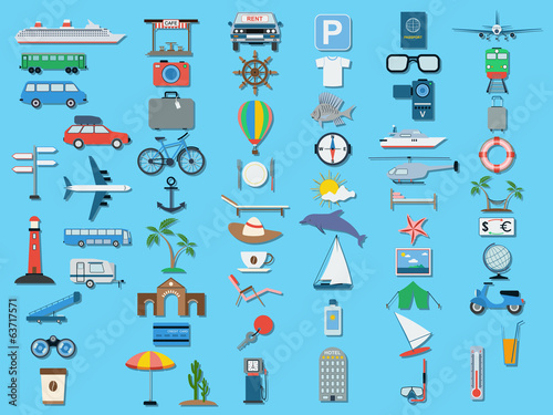 Flat travel icons vector set