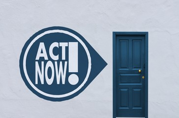 act now icon next to a blue door