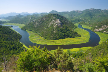 Crnojevica River flowing in Skadar Lake, Montenegro