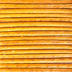 Salted sticks arranged horizontally