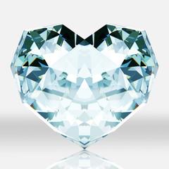 Diamond heart shape isolated on white background.
