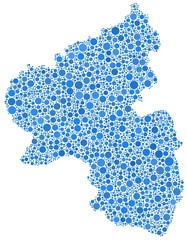 Map of Rhineland Palatinate in a mosaic of blue bubbles