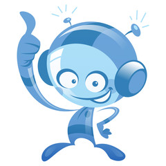 Happy cartoon blue astronaut smiling and making thumb up gesture