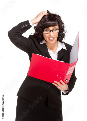 surprised senior business woman with folder