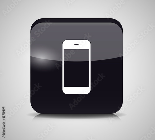 Glass Phone Button Vector Illustration