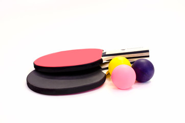 rackets and balls for table tennis