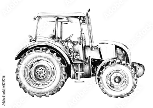 Agricultural tractor illustration art drawing