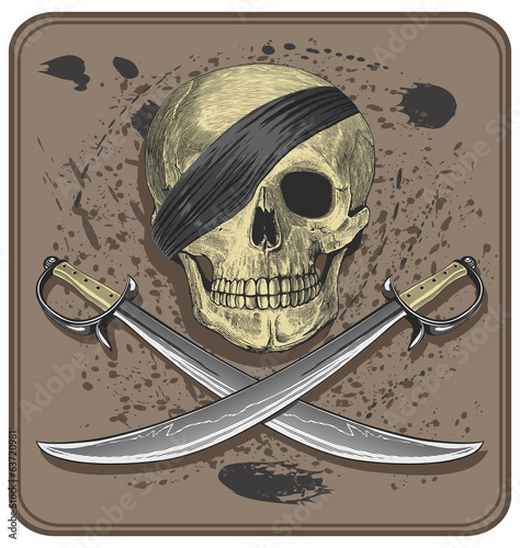 Pirate skull with swords (Jolly Roger)