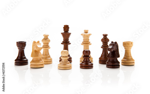 chess pieces on a white