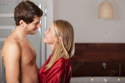 Romantic couple smiling