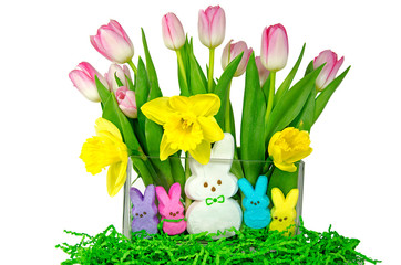 Easter bunnies with tulip and daffodils