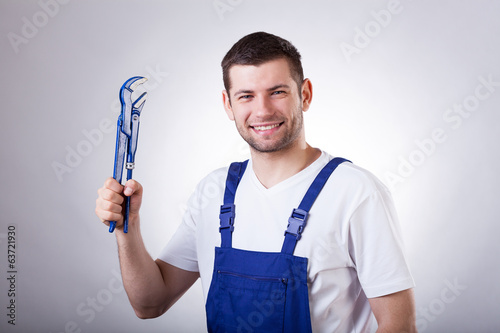 Repairman with wrench