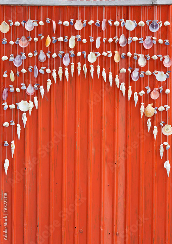 colourful shell curtain