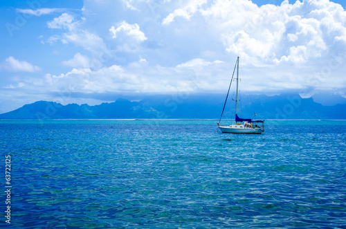 Sailboat in the South Pacific Ocean
