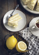 Lemon cake with mascarpone cream. Toned image
