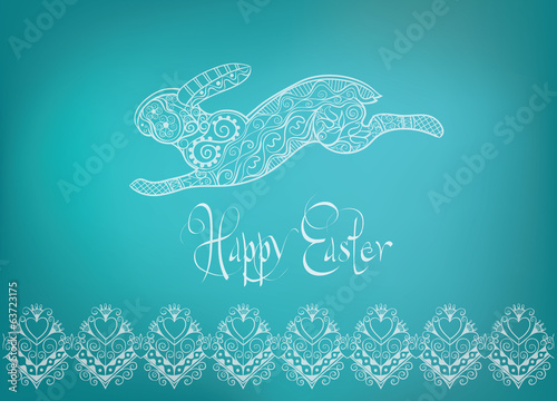 Easter folk  ornament rabbit hand-drawn typography