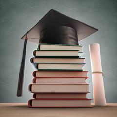 Graduation Books. Clipping path included.