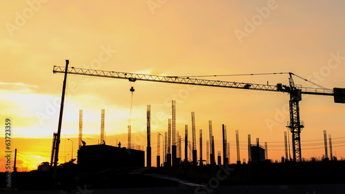 Timelapse shot of construction site at sunset