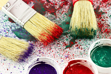 Brushes with paints