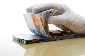 Geld Hand Gummihandschuhe