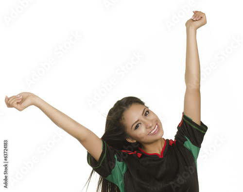 Beautiful young happy smiling woman with arms outstretched