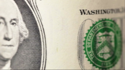 One dollar bill, close up, rotate.